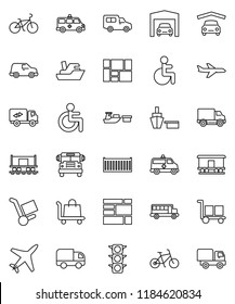 thin line vector icon set - school bus vector, bike, Railway carriage, plane, traffic light, ship, sea container, delivery, car, port, consolidated cargo, disabled, amkbulance, garage, trolley