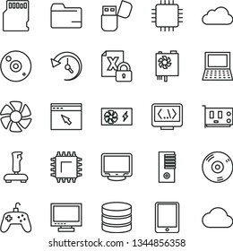 thin line vector icon set - monitor vector, folder, smd, tablet pc, notebook, fan, encrypting, power supply, tower, cpu, card, cd, usb flash, browser, coding, joystick, sd, big data, history, cloud