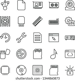 thin line vector icon set - processor vector, radiator fan, keyboard, cpu, memory, pc card, gpu, web camera, usb, cd, flash, network, browser, coding, projector, note, sd, repair, history, settings