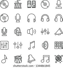 thin line vector icon set - bell vector, desktop microphone, horn, loudspeaker, silent mode, drumroll, drum, headphones, music, CD, regulator, volume, pc speaker, note, settings, disco ball