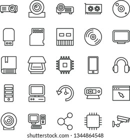 thin line vector icon set - vector e, CD, smartphone, lens, connection, computer, pc tower, cpu, gpu card, monitor, web camera, usb, scanner, flash, headphones, browser, projector, sd, history