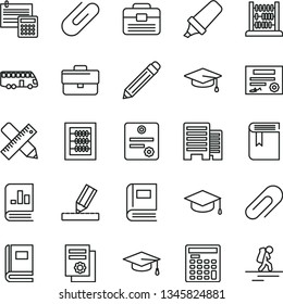 thin line vector icon set - clip vector, briefcase, graphite pencil, book, new abacus, portfolio, buildings, writing accessories, drawing, calculation, square academic hat, text highlighter, patente