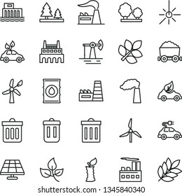 thin line vector icon set - bin vector, dust, apple stub, solar panel, working oil derrick, leaves, windmill, wind energy, manufacture, factory, hydroelectric station, trees, forest, eco car, trash