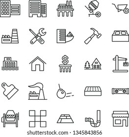 thin line vector icon set - building trolley vector, concrete mixer, small tools, siphon, level, buildings, city block, tile, brick, putty knife, paving slab, hammer with claw, core, home, factory