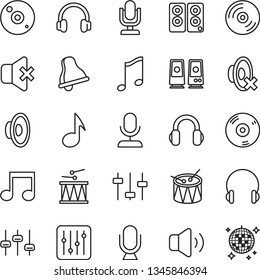 thin line vector icon set - bell vector, desktop microphone, loudspeaker, silent mode, drumroll, drum, headphones, music, CD, regulator, volume, no sound, pc speaker, note, settings, disco ball