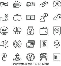 thin line vector icon set - growth up vector, dollar, strongbox, cards, column of coins, denomination the, financial item, get a wage, wallet, purse, money, gold bar, rain, coin, gear, idea, eyes