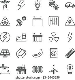 thin line vector icon set - lightning vector, danger of electricity, new radiator, regulator, banana, solar panel, big, windmill, oil, accumulator, battery, power pole, thermal plant, gears, memory