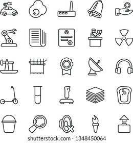 thin line vector icon set - silent mode vector, child Kick scooter, bucket, bell, pile, fried egg, sandwich, oil derrick, cloth industry, electric car, assembly robot, magnifier, catch a coin, medal
