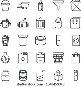 thin line vector icon set - wicker pot vector, bin, mug for feeding, measuring cup, bottle, powder, e, bucket, bag with handles, unpacking, canned goods, tin, of popcorn, jam, jar, round flask, oil