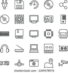 thin line vector icon set - floppy disk vector, e, CD, electric plug, connection, notebook pc, radiator fan, keyboard, tower, cpu, gpu card, monitor, usb, scanner, headphones, browser, connect, map