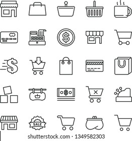 thin line vector icon set - grocery basket vector, bank card, dollar, cubes for children, put in cart, crossed, bag with handles, kiosk, cup of tea, stall, shopping, antique advertising signboard