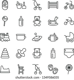 thin line vector icon set - baby cot vector, dummy, mug for feeding, bottle, measuring, diaper, stroller, summer, sitting, stacking rings, roly poly doll, toy sand set, children's potty, chair, yule