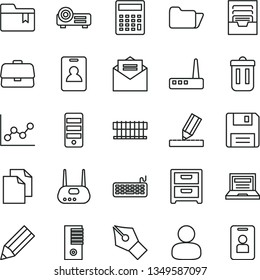 thin line vector icon set - laptop vector, clean paper, calculator, graph, archive, folder bookmark, drawing, received letter, nightstand, briefcase, man, pencil, radiator fan, keyboard, pc tower