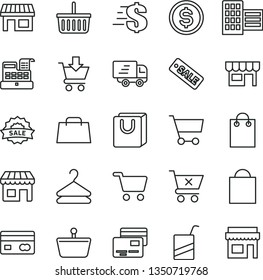 thin line vector icon set - paper bag vector, grocery basket, dollar, e, city block, put in cart, crossed, with handles, cards, kiosk, hanger, stall, shopping, reverse side of a bank card, hand