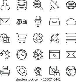 thin line vector icon set - sign of the planet vector, zoom out, drawer, cart, electric plug, woman, globe, phone call, encrypting, printer, network, browser, big data, mail, history, settings