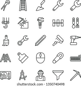 thin line vector icon set - repair key vector, graphite pencil, safety pin, iron fork spoons, winch hook, building trowel, adjustable wrench, cordless drill, paint roller, wooden brush, stepladder