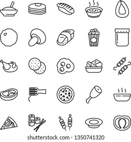 thin line vector icon set - stick of sausage vector, fried vegetables on sticks, pizza, piece, noodles, porcini, a bowl buckwheat porridge, in saucepan, hot, lettuce plate, milk, chicken, thigh, jam