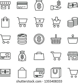 thin line vector icon set - paper bag vector, grocery basket, bank card, cart, put in, crossed, with handles, cards, kiosk, coins, stall, shopping, front of the, column, dollar, get a wage, money