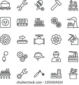 thin line vector icon set - workman vector, concrete mixer, power socket type b, helmet, plummet, gear, hammer, sea port, coal mining, valve, factory, hydroelectric station, industrial building