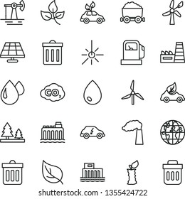 thin line vector icon set - bin vector, dust, drop, apple stub, solar panel, working oil derrick, leaves, leaf, gas station, windmill, wind energy, manufacture, hydroelectric, hydroelectricity