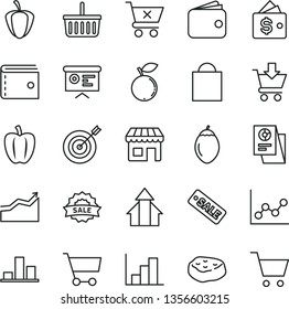 thin line vector icon set - paper bag vector, grocery basket, purse, graph, negative histogram, put in cart, crossed, piece of meat, blueberry, tamarillo, Bell pepper, ripe, kiosk, chart, wallet