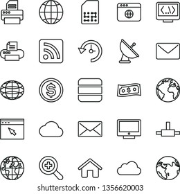 thin line vector icon set - sign of the planet vector, zoom, rss feed, house, earth, screen, SIM, globe, dollar, printer, browser, connect, coding, big data, mail, history, cloud, satellite antenna