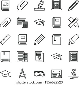 thin line vector icon set - clip vector, graphite pencil, yardstick, book, new abacus, e, buildings, writing accessories, drawing, calculation, square academic hat, scribed compasses, on statistics