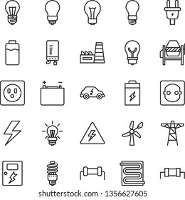 thin line vector icon set - lightning vector, danger of electricity, matte light bulb, concrete mixer, dangers, heating coil, electronic boiler, charge level, charging battery, wind energy, socket