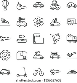 thin line vector icon set - truck lorry vector, motor vehicle, present, tricycle, child Kick scooter, core, delivery, cardboard box, shipment, marine propeller, modern gas station, eco car, electric