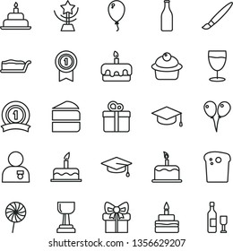 thin line vector icon set - tassel vector, colored air balloons, balloon, cake, birthday, gift, square academic hat, Easter, muffin, piece of, slice, torte, lollipop, glass, bottle, gold cup, star
