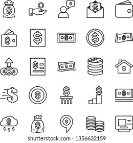 thin line vector icon set - dollar vector, coins, column of, article on the, financial item, catch a coin, wallet, dollars, cash, money rain, mortgage, pedestal, bag, growth, mail, dialog, pin, atm