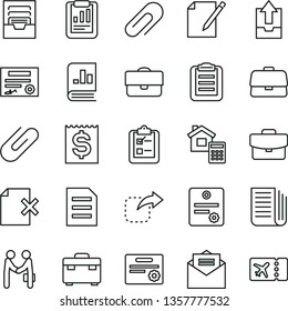 thin line vector icon set - clip vector, archive, upload data, suitcase, estimate, received letter, notes, delete page, survey, move right, portfolio, briefcase, statistical report, financial item