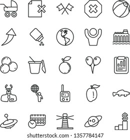 thin line vector icon set - mark of injury vector, baby powder, carriage, bath ball, toy phone, children's sand set, yule, colored air balloons, delete page, small fish, blueberry, blueberries