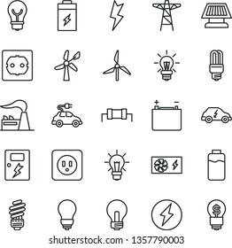 thin line vector icon set - incandescent lamp vector, saving light bulb, power socket type b, f, lightning, dangers, charge level, charging battery, windmill, wind energy, factory, accumulator, pole