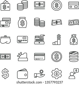 thin line vector icon set - bank card vector, cards, coins, reverse side of a, front the, column, denomination dollar, catch coin, wallet, purse, money, dollars, cash, machine, cashbox, pedestal