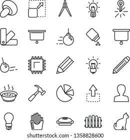 thin line vector icon set - graphite pencil vector, woman, baby powder, big core, color samples, hedge, hammer with claw, expand picture, move up, porcini, pie, porridge in a saucepan, light bulb