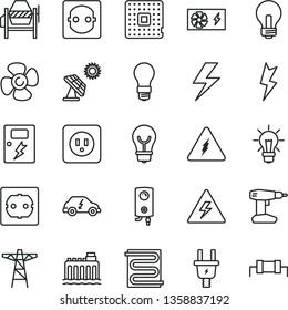 thin line vector icon set - lightning vector, danger of electricity, incandescent lamp, concrete mixer, drill, power socket type b, f, dangers, heating coil, boiler, bulb, fan screw, big solar panel