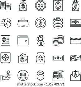 thin line vector icon set - bank card vector, purse, dollar, strongbox, coins, column of, denomination the, article on, financial item, get a wage, money, dollars, cash, machine, bag hand, coin