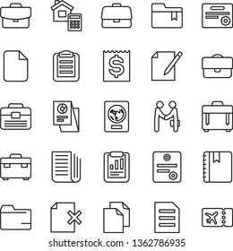 thin line vector icon set - clean paper vector, folder, bookmark, portfolio, suitcase, estimate, notebook, case, notes, delete page, briefcase, statistical report, financial item, research, file
