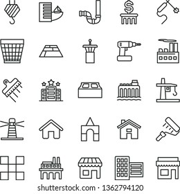thin line vector icon set - house vector, wicker pot, box of bricks, hook, cordless drill, paint roller, siphon, city block, tile, building, spatula, paving slab, hydroelectricity, industrial, kiosk