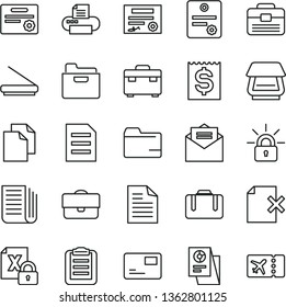 thin line vector icon set - clean paper vector, scribbled, folder, portfolio, suitcase, received letter, pass card, delete page, financial item, statistical research, newspaper, encrypting, printer