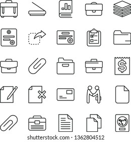 thin line vector icon set - clip vector, briefcase, clean paper, scribbled, folder, portfolio, case, pile, suitcase, pass card, notes, delete page, survey, move right, financial item, scanner, file