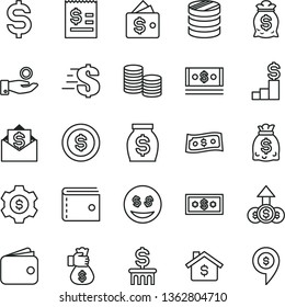 thin line vector icon set - purse vector, dollar, coins, column of, denomination the, article on, catch a coin, wallet, money, dollars, cash, bag hand, mortgage, pedestal, gear, eyes, growth, mail