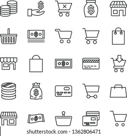 thin line vector icon set - paper bag vector, grocery basket, bank card, cart, put in, crossed, cards, kiosk, coins, stall, shopping, front of the, column, get a wage, money, dollars, cash, dollar