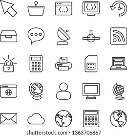 thin line vector icon set - laptop vector, monitor window, rss feed, speech, drawer, satellite antenna, SIM card, shopping basket, man, calculator, printer, browser, connect, coding, mail, history