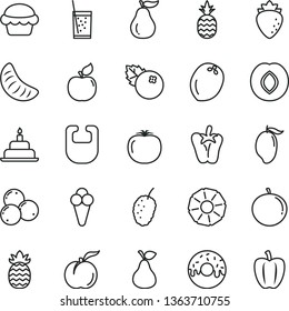 thin line vector icon set - bib vector, birthday cake, glazed with a hole, peper, glass of soda, cone, blueberries, pineapple, pear, ripe peach, apricot, plum, raspberry, tasty mulberry, mango