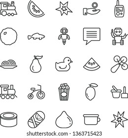 thin line vector icon set - image of thought vector, baby rattle, duckling, tumbler, toy mobile phone, sand set, children's potty, train, child bicycle, canned goods, onion, cabbage, cup popcorn
