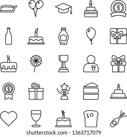 thin line vector icon set - colored air balloons vector, balloon, cake, birthday, heart, gift, square academic hat, Easter, piece of, slice, torte, lollipop, glass, bottle, giftbox, gold cup, star