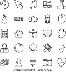 thin line vector icon set - dwelling vector, sink, music, operator, pear, orange, coconut, pineapple, pumpkin, electric plug, schedule, calculator, mouse, browser, projector, note, history, cursor