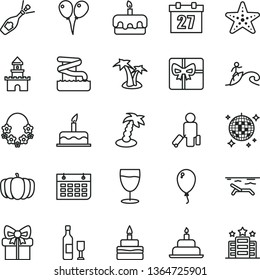 thin line vector icon set - daily calendar vector, colored air balloons, balloon, cake, birthday, torte, glass, pumpkin, wall, gift, giftbox, sand castle, wine, champagne, passenger, beach, aquapark